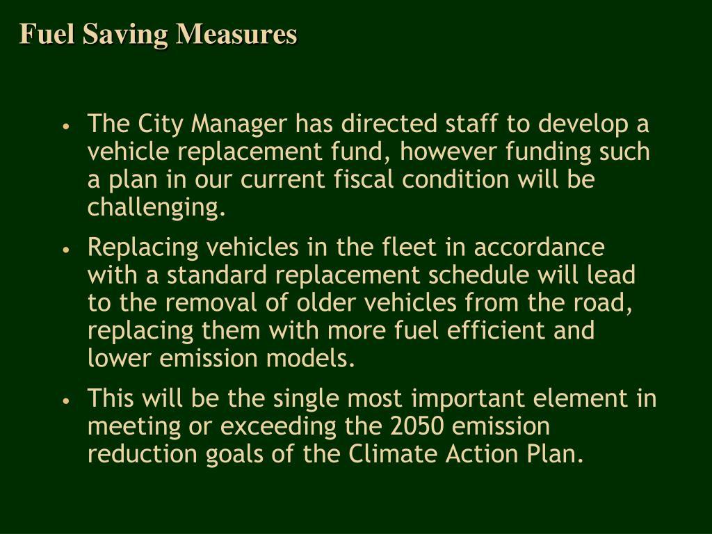 Fuel Saving Measures
