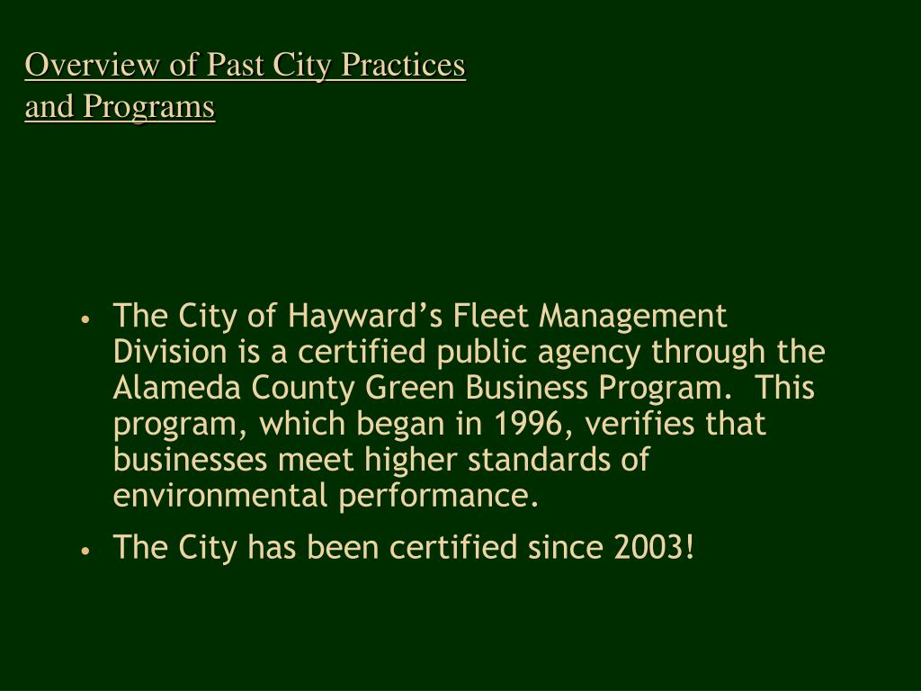 Overview of Past City Practices and Programs