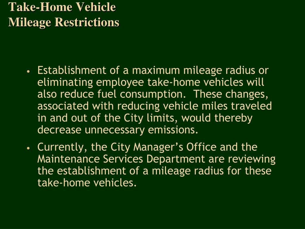 Take-Home Vehicle