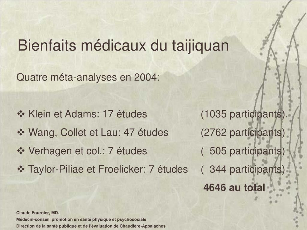 Bienfaits médicaux du taijiquan