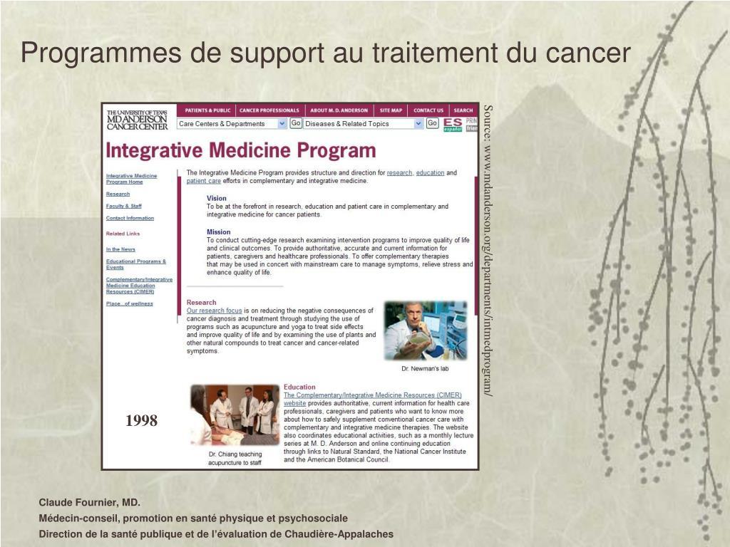 Programmes de support au traitement du cancer