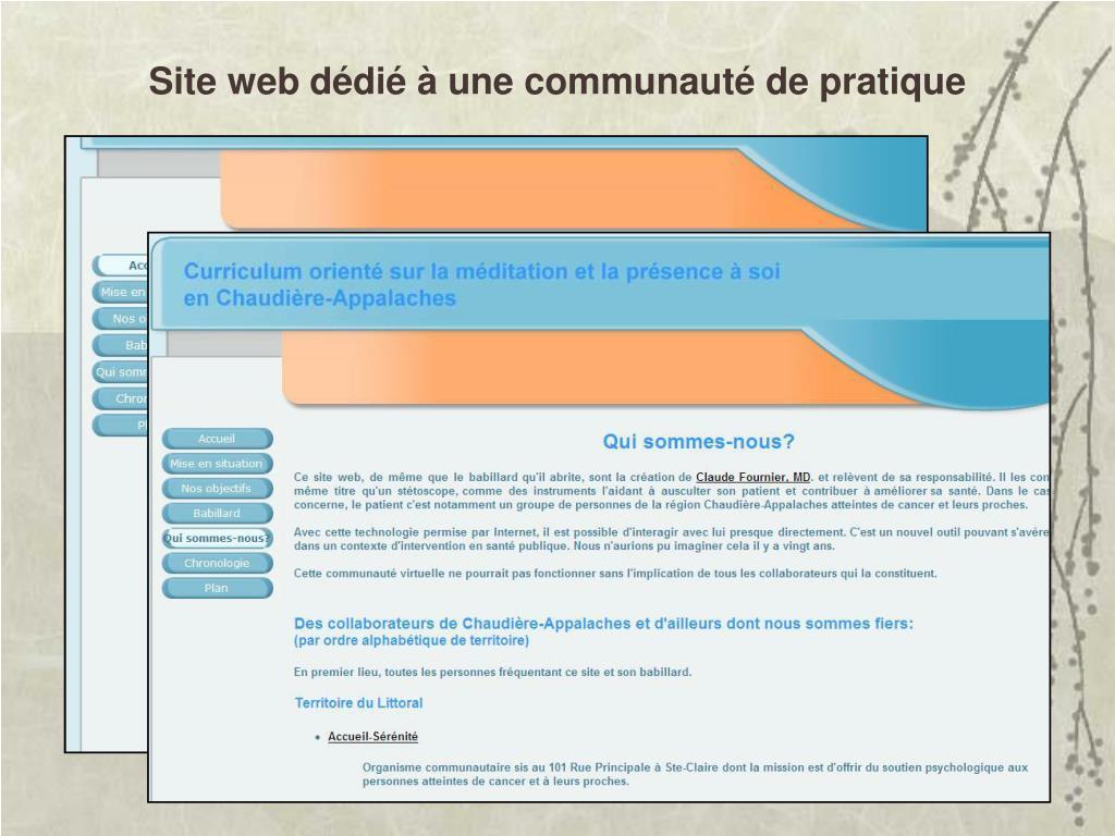 Site web dédié à une communauté de pratique