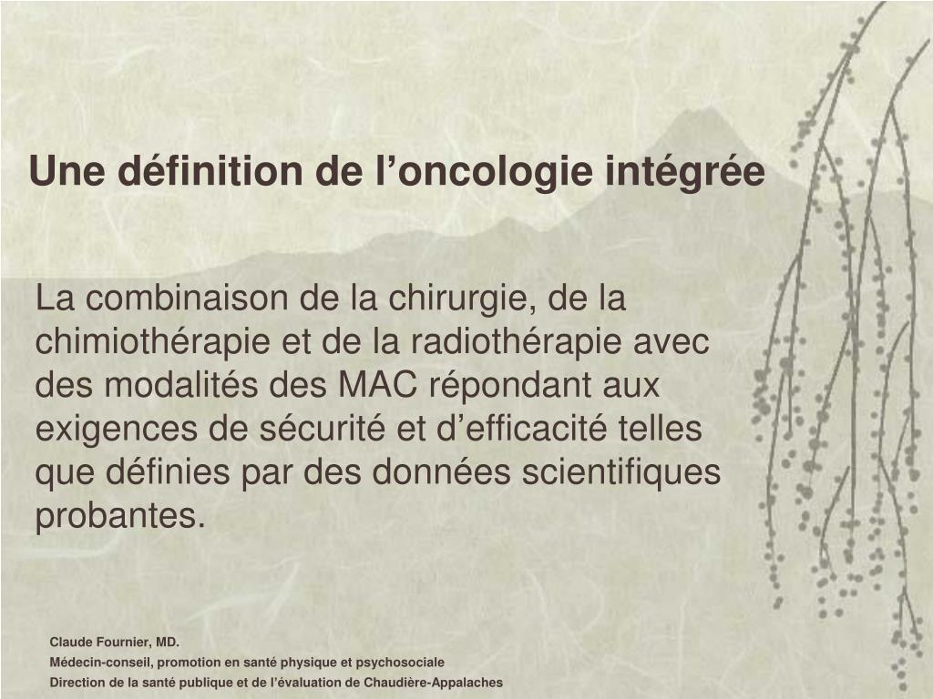 Une définition de l'oncologie intégrée