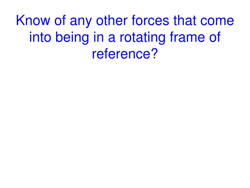 Know of any other forces that come into being in a rotating frame of reference?