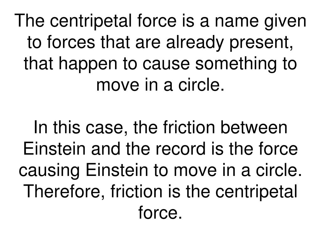 The centripetal force is a name given to forces that are already present, that happen to cause something to move in a circle.