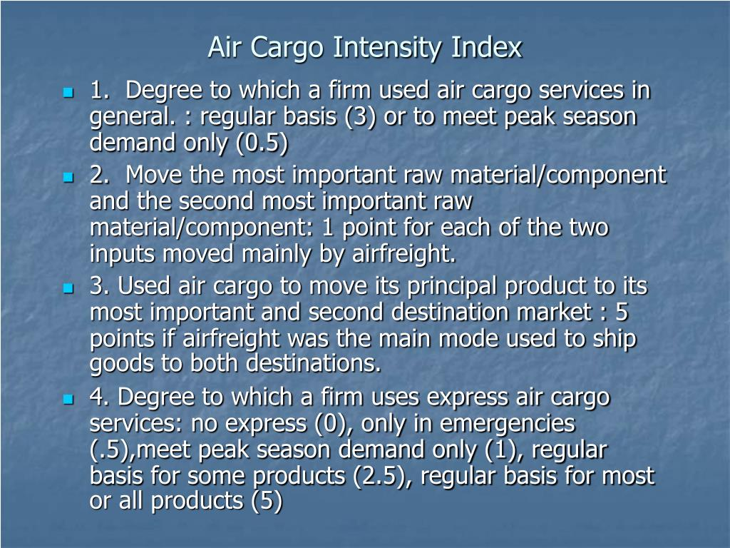 Air Cargo Intensity Index