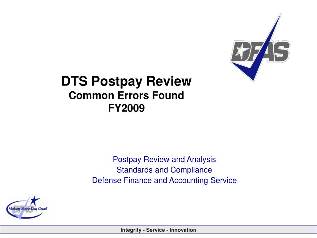 dts postpay review common errors found fy2009 l.