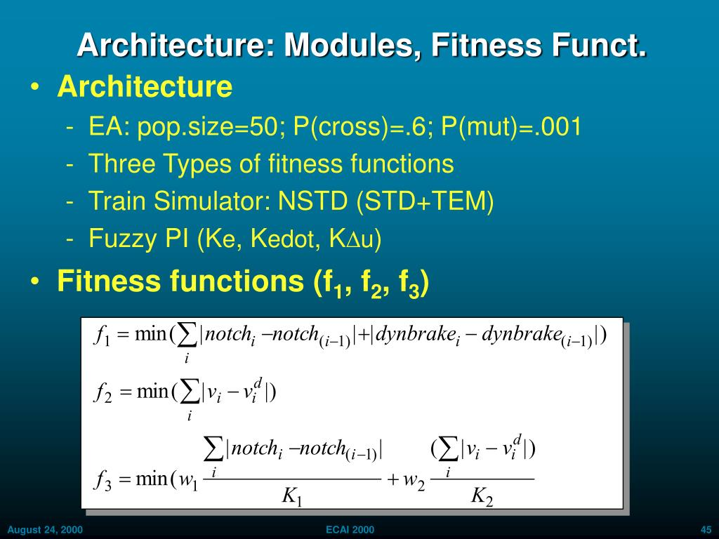 Architecture: Modules, Fitness Funct.