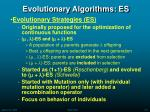 evolutionary algorithms es
