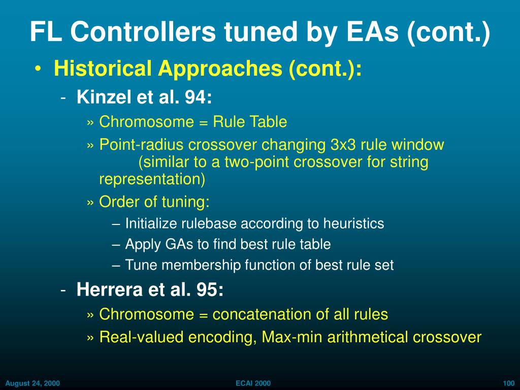 FL Controllers tuned by EAs (cont.)