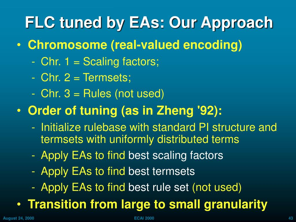 FLC tuned by EAs: Our Approach