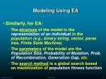modeling using ea