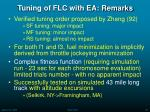 tuning of flc with ea remarks
