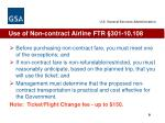 use of non contract airline ftr 301 10 108