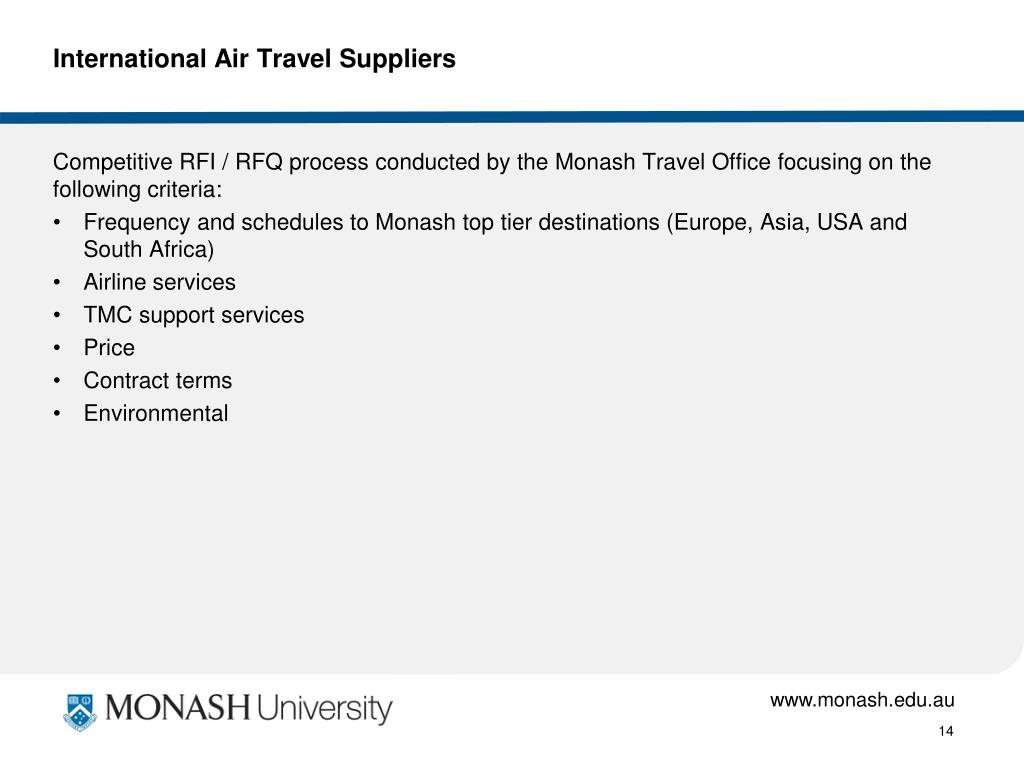 International Air Travel Suppliers