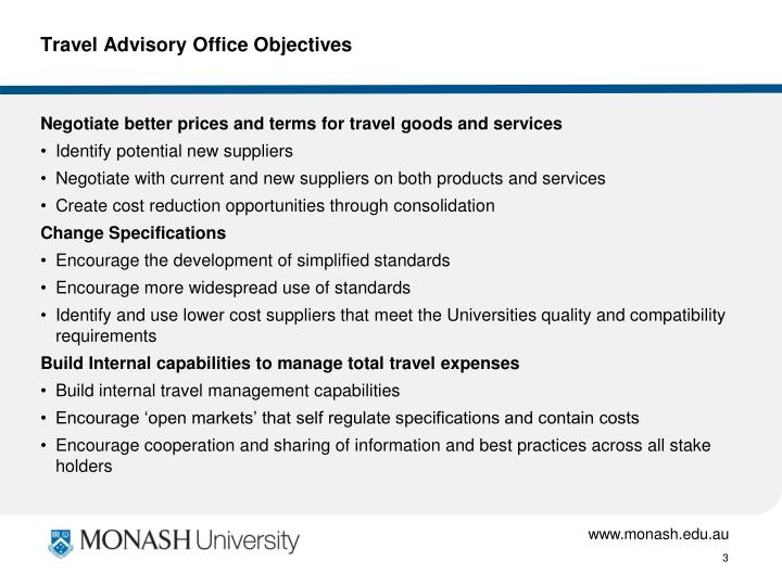 Travel advisory office objectives