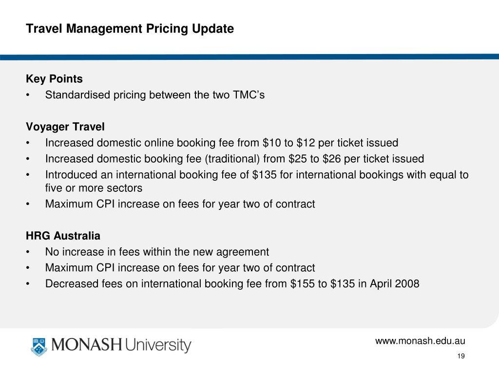 Travel Management Pricing Update
