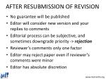 after resubmission of revision