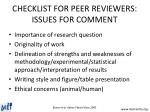 checklist for peer reviewers issues for comment