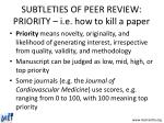 subtleties of peer review priority i e how to kill a paper