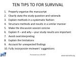 ten tips to for survival