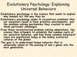evolutionary psychology explaining universal behaviors