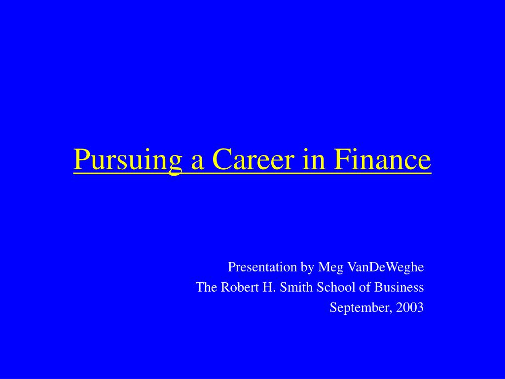 pursuing a career in finance l.