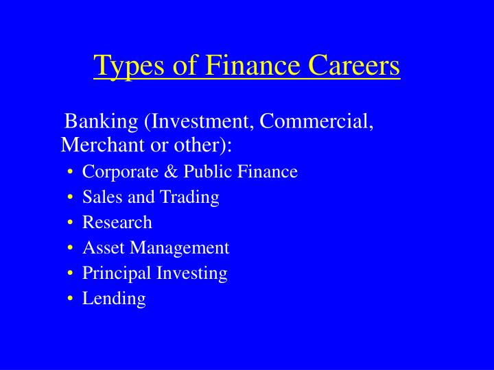 Types of finance careers