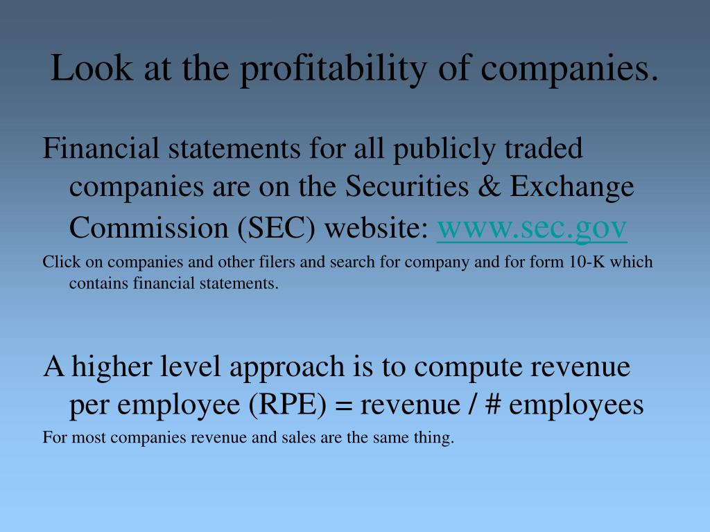 Look at the profitability of companies