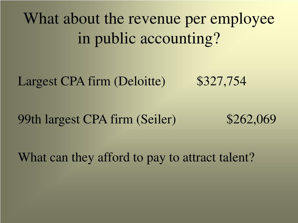 What about the revenue per employee in public accounting?