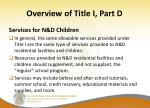 overview of title i part d13