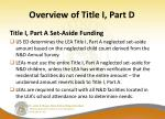 overview of title i part d15