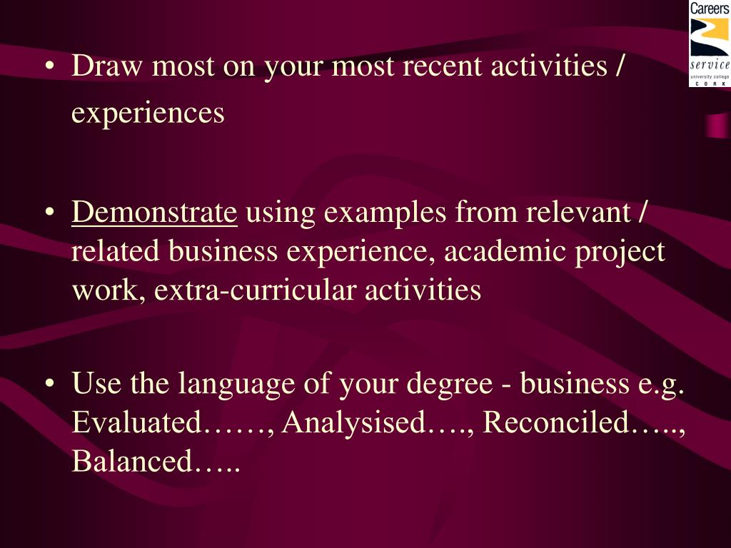 Draw most on your most recent activities /