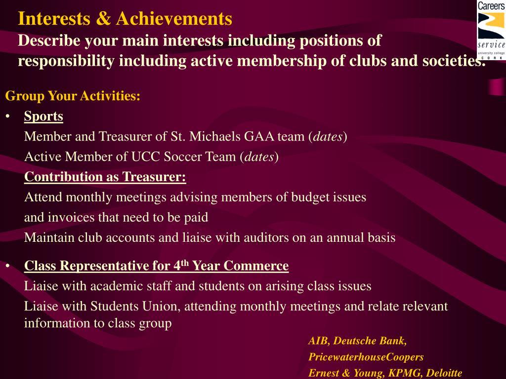 Interests & Achievements