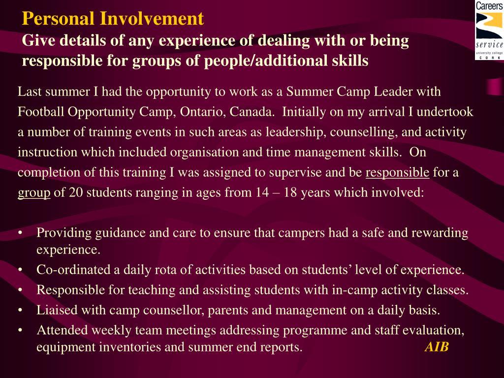 Personal Involvement