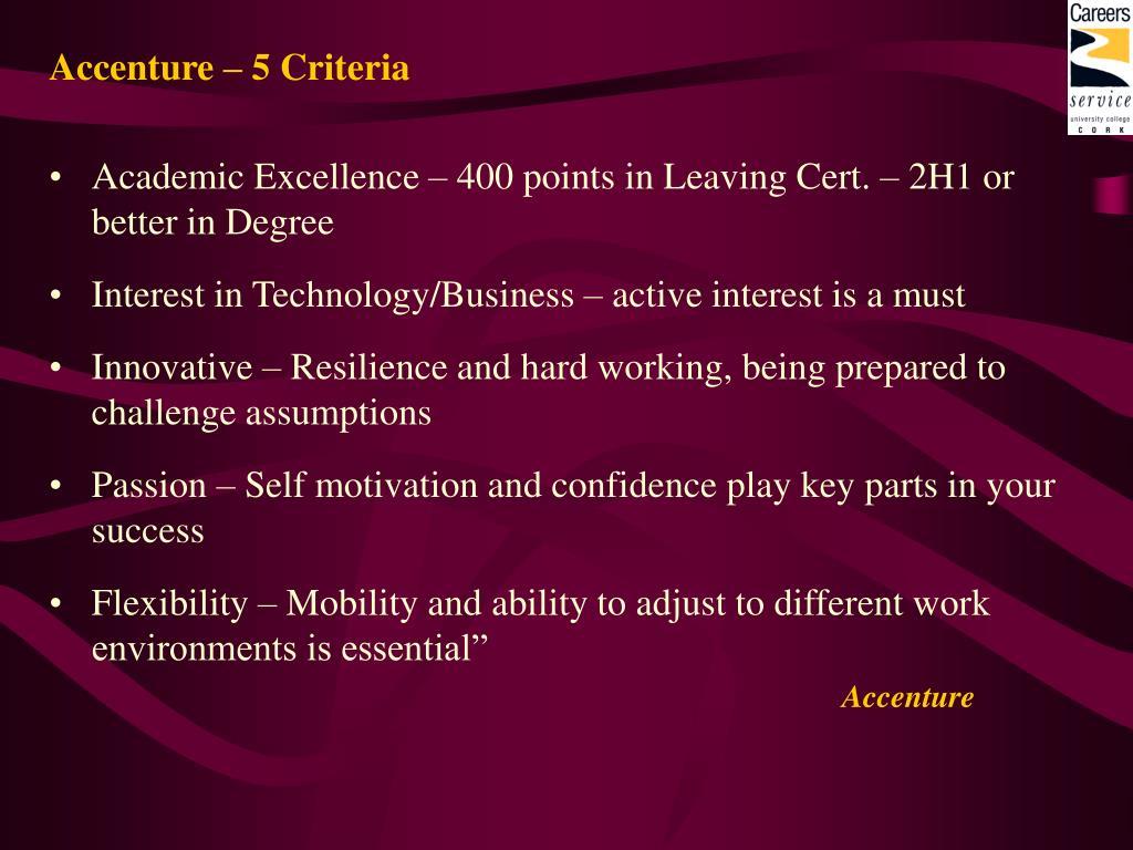 Accenture – 5 Criteria