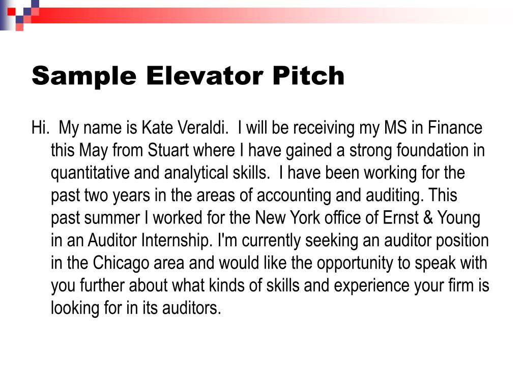 Sample Elevator Pitch