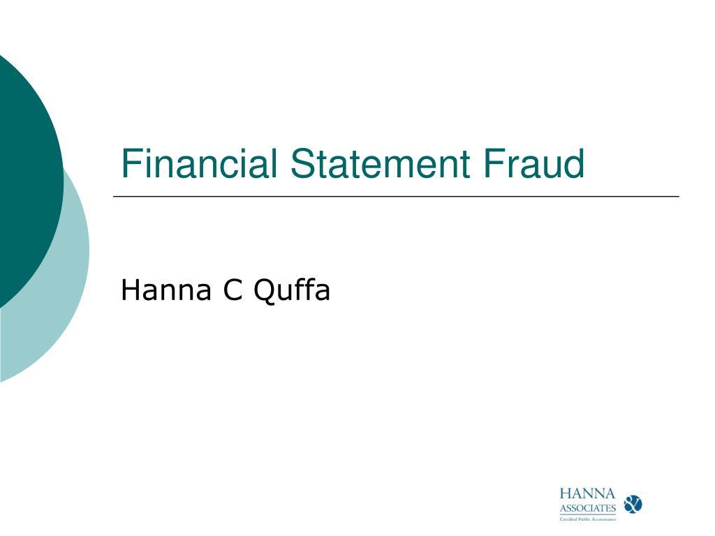 financial statement fraud l.