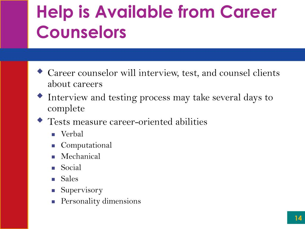 Help is Available from Career Counselors