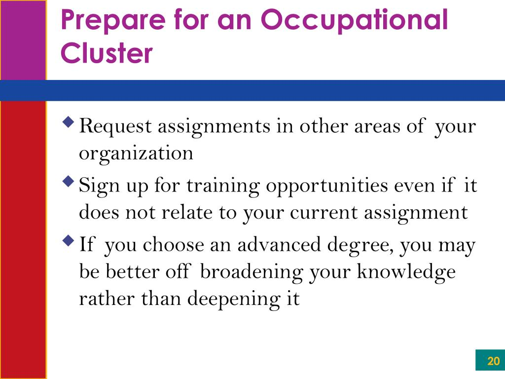 Prepare for an Occupational Cluster
