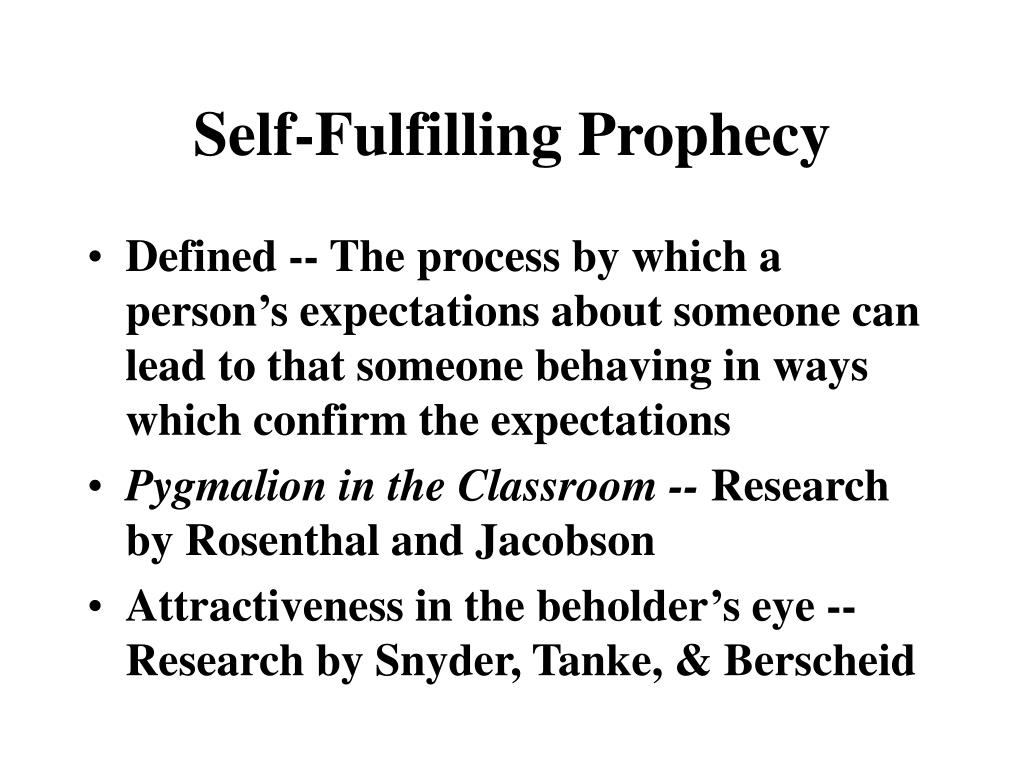 self fulfilling prophecy I notice that almost everyone understands the question to be asking, are prophecies recorded in the bible 'self-fulfilling prophecies' so they have addressed issues with regard to prophecies in the bible.