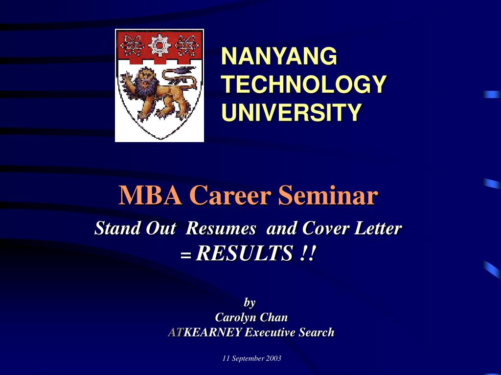 mba career seminar stand out resumes and cover letter results l.