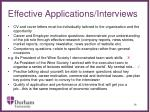 effective applications interviews