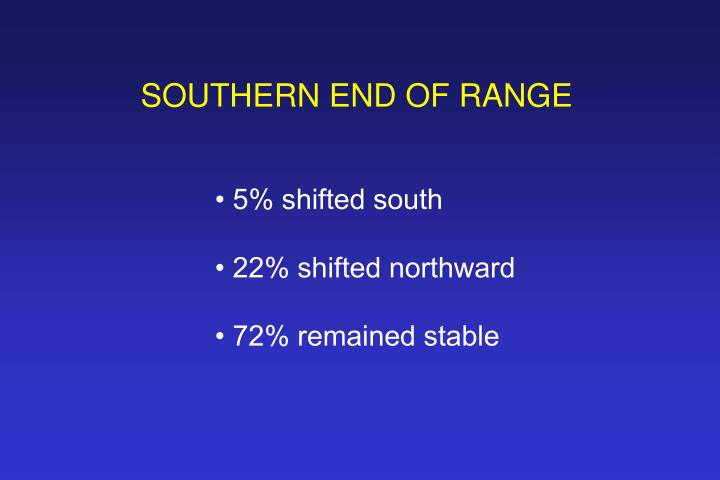 SOUTHERN END OF RANGE