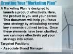 creating your marketing plan