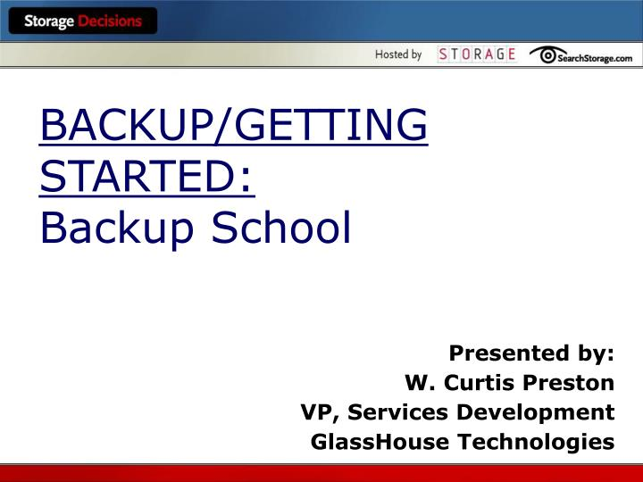 Backup getting started backup school