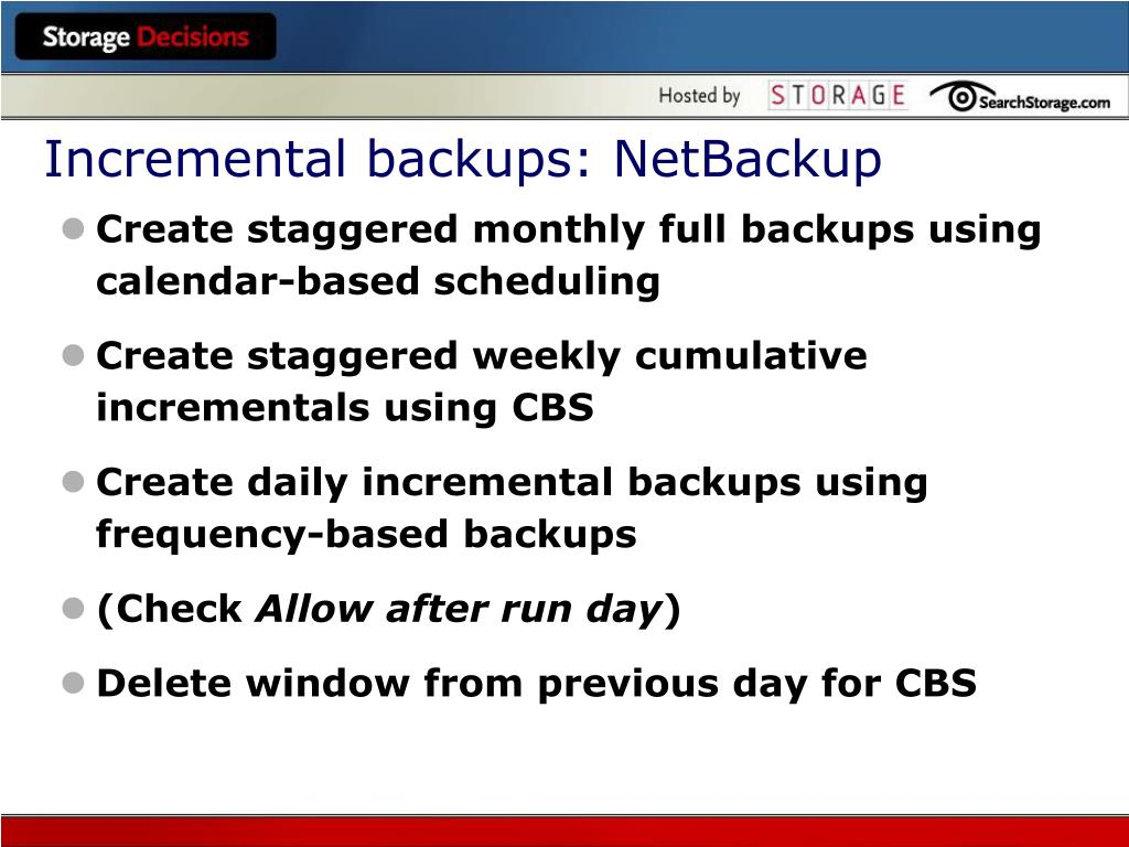 Incremental backups: NetBackup