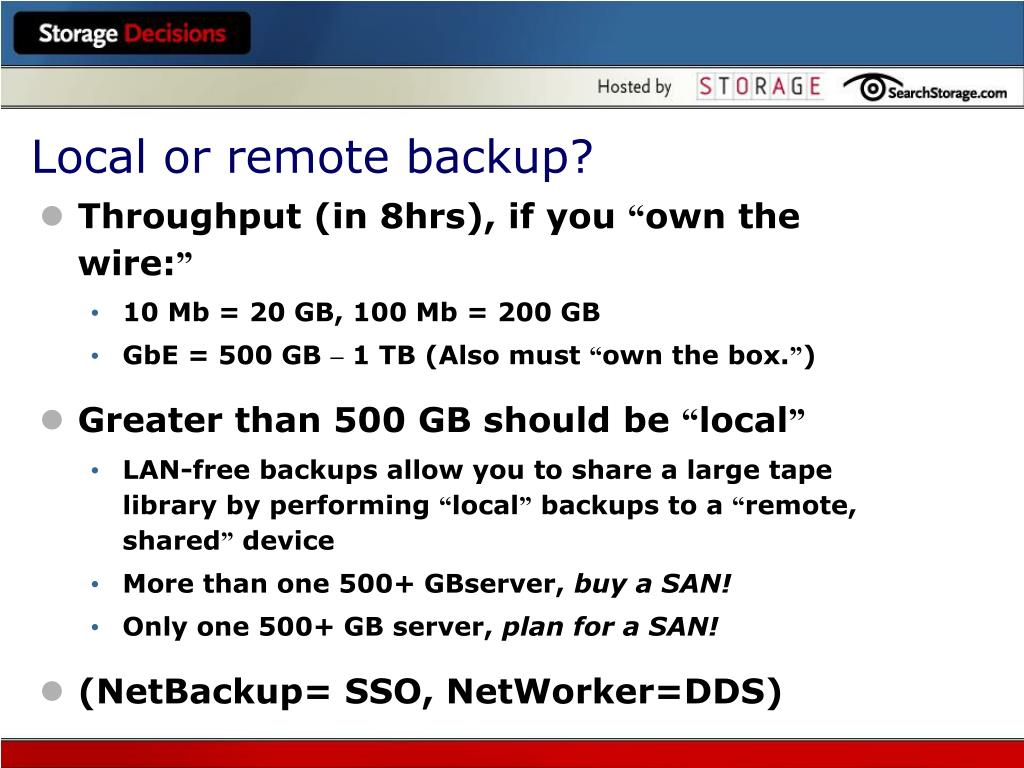 Local or remote backup?