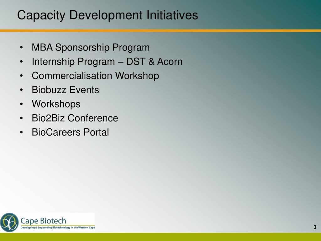 Capacity Development Initiatives