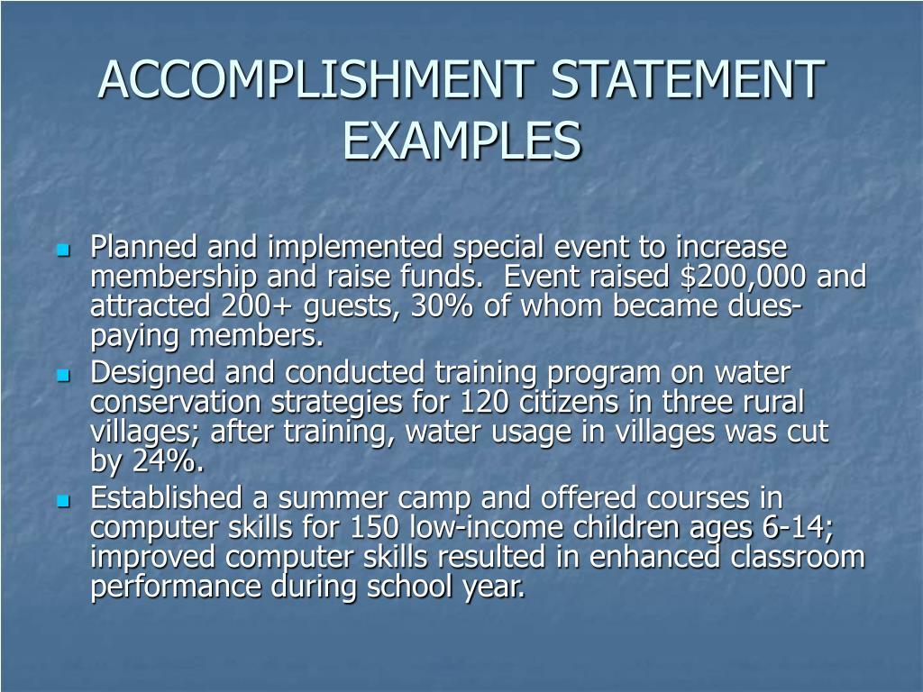 ACCOMPLISHMENT STATEMENT EXAMPLES